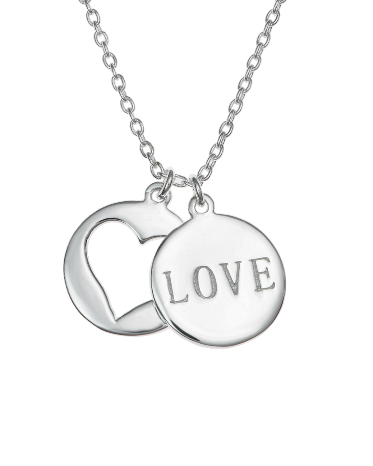 "Sterling Silver Love Heart Necklace, 16""+1"" Extender"