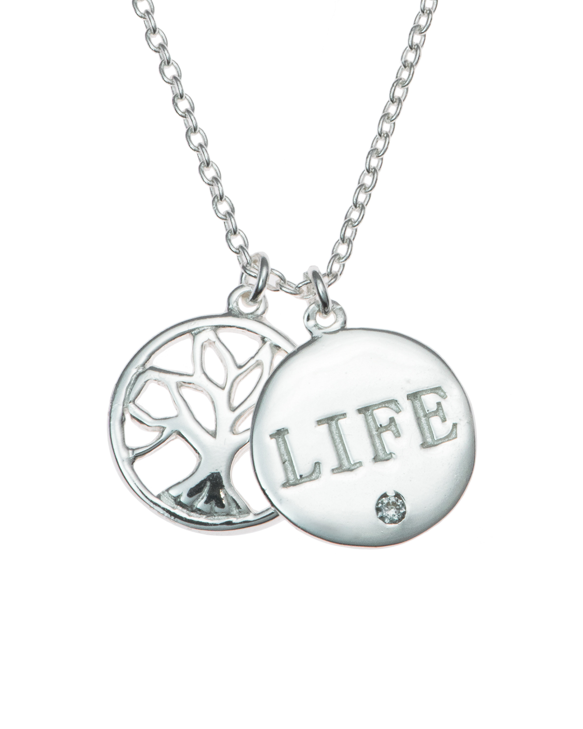 "Sterling Silver Family Tree Life Necklace, 16""+1"" Extender"