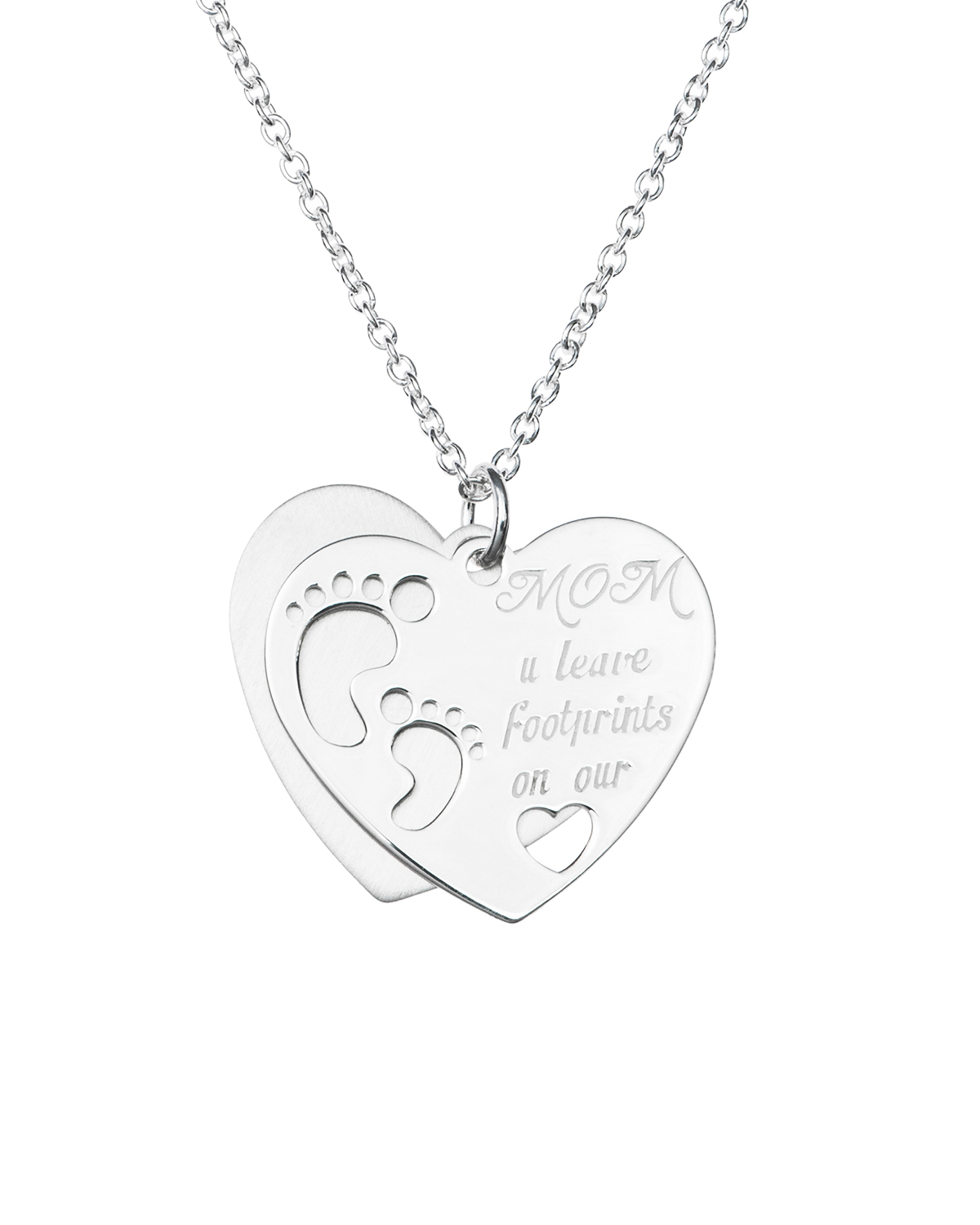 Love Mom U Leave Footprint on Our Heart Dangle Necklace