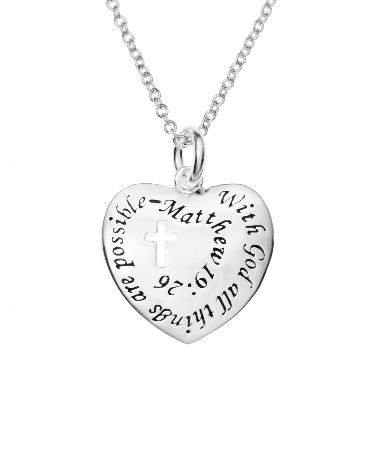 42ff57c3f Silver with God All Things Are Possible Heart Charm