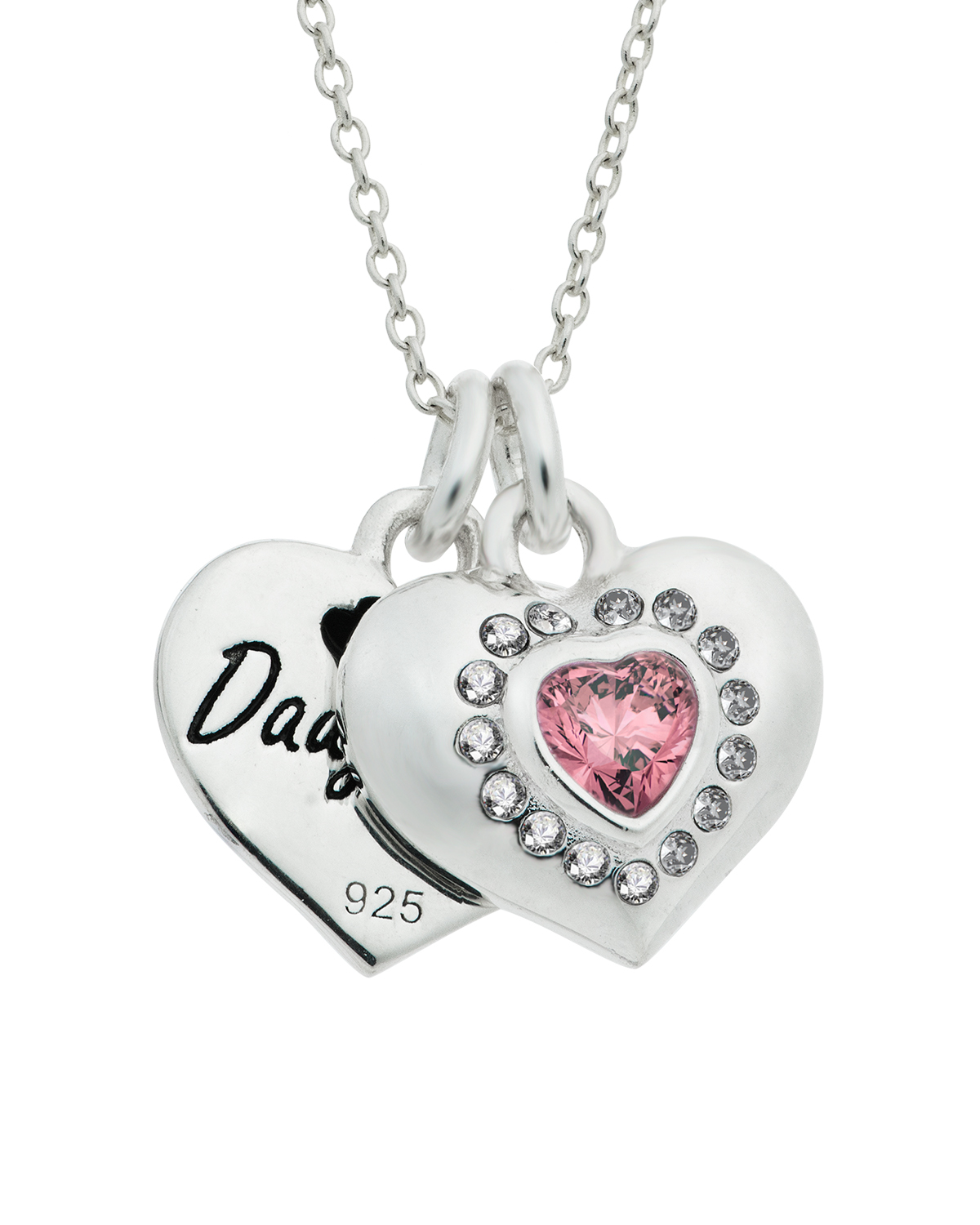 "Mom & Daughter Love Heart Necklace, 16""+2"" Extender"